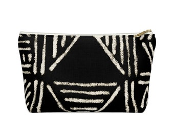 Mud Cloth PRINTED Geo Print Zippered Pouch, Black/White Tribal Design Cosmetics/Pencil/Make-Up Organizer/Bag, Boho/African Geometric Pattern