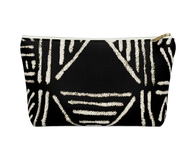 Mud Cloth Geo Print Zippered Pouch, Black & White Tribal Design, Cosmetics/Pencil/Make-Up Organizer/Bag, Boho/African Geometric Pattern