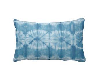 "Indigo Mud Cloth Circles Print Throw Pillow or Cover, 14 x 20"" Lumbar Pillows or Covers, Bright Blue Mudcloth/Tribal/Geo/Boho"