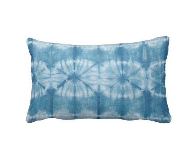 "OUTDOOR Indigo Mud Cloth Circles Print Throw Pillow or Cover, 14 x 20"" Lumbar Pillows/Covers, Bright Blue Mudcloth/Tribal/Geo/Boho"