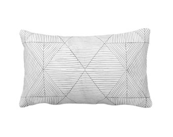 "OUTDOOR Fine Line Geo Print Throw Pillow or Cover 14 x 20"" Lumbar Pillows/Covers, Charcoal Dark Gray/Grey Tribal Geometric/Diamond/Lines"