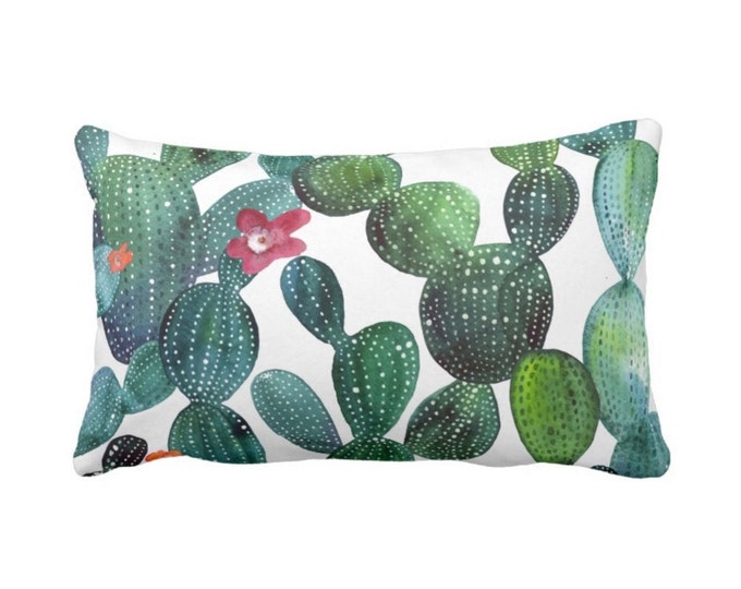 """Cactus Print Throw Pillow or Cover, Watercolor Green/Blue 14 x 20"""" Lumbar Pillows or Covers, Southwest/West/Cacti/Bright/Deep"""