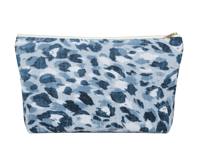 Spots Print Zippered Pouch, Animal Printed Design, Cosmetics/Pencil/Make-Up Organizer/Bag, Denim/Indigo Blue Leopard Animal/Spot Pattern