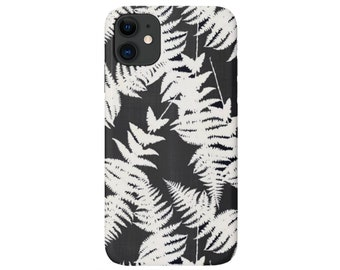 Ferns iPhone 11, XS, XR, X, 7/8, 6/6S Pro/Max/Plus/P Snap Cover or Tough Protective Case Charcoal/White Tropical Fern Print Galaxy Huawei