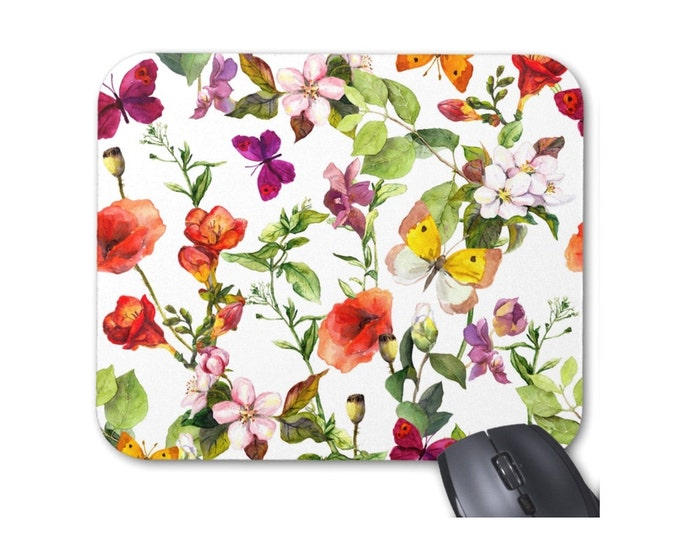 Vintage Floral Print Mouse Pad, Colorful Watercolor Mousepad, Orange/Purple/Green/Pink/Yellow