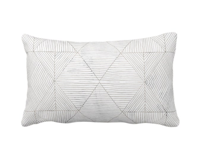 """OUTDOOR Fine Line Geo Print Throw Pillow or Cover 14 x 20"""" Lumbar Pillows/Covers, Taupe Beige/Gray/White Tribal Geometric/Diamond/Lines"""