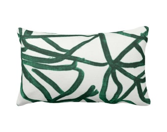 "SALE Abstract Print Throw Pillow Cover, White/Balsam 14 x 20"" Lumbar Pillow Covers, Painted Dark Green Abstract/Geometric/Geo/Modern/Lines"