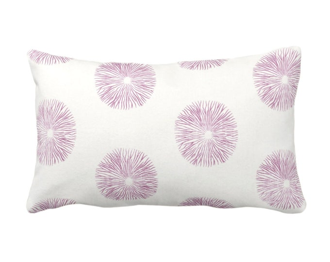 """OUTDOOR Sea Urchin Print Throw Pillow or Cover, Ivory/Plum 14 x 20"""" Lumbar Pillows/Covers, Purple/Pink Abstract Geometric Pattern"""