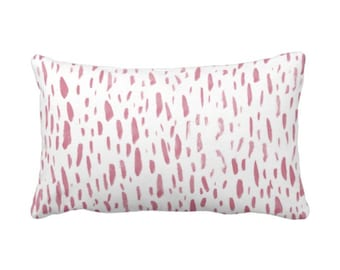 "OUTDOOR Hand-Painted Dashes Throw Pillow or Cover, Millenial Pink/White 14 x 20"" Lumbar Pillows/Covers, Abstract Dot/Dots/Spots Print"