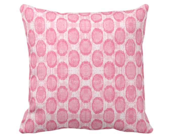 """OUTDOOR Ikat Ovals Print Throw Pillow or Cover 14, 16, 18, 20, 26"""" Sq Pillows/Covers, Petal Pink Geometric/Circles/Geo/Tribal/Boho Pattern"""