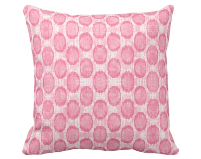 "OUTDOOR Ikat Ovals Print Throw Pillow/Cover 14, 16, 18, 20, 26"" Sq Pillows/Covers, Petal Pink Geometric/Circles/Dots/Dot/Geo/Polka Pattern"