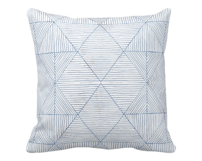 """Fine Line Geo Print Throw Pillow or Cover 14, 16, 18, 20 or 26"""" Sq Pillows/Covers Navy/Indigo Blue Tribal Geometric/Abstract/Lines/Diamond"""