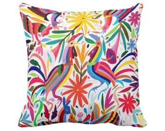 "OUTDOOR Colorful Otomi Throw Pillow Cover, Printed 16"" Sq Pillow Covers, Floral/Flower/Animal/Mexican/Fun/Boho/Tribal Pattern/Print"