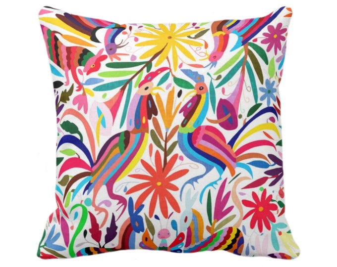 "OUTDOOR Colorful Otomi Throw Pillow Cover, Printed 14, 16, 18, 20, 26"" Sq Pillow Covers, Floral/Flower/Animal/Mexican/Fun/Boho/Tribal Print"