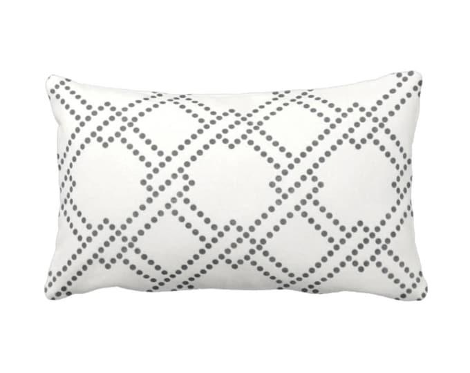 "Linked Squares Throw Pillow or Cover, Charcoal Gray, White 14 x 20"" Lumbar Pillows or Covers, Grey Lattics/Trellis Print/Pattern"
