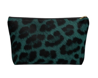 Teal Leopard Print Zippered Pouch, Animal Printed Design, Cosmetics/Pencil/Make-Up Organizer/Bag Dark Green/Black/Caramel Spots/Spot Pattern