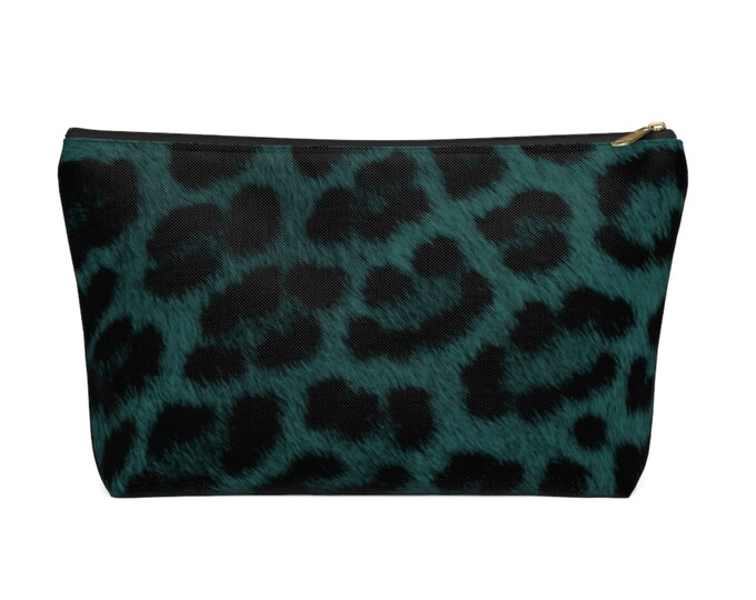Teal Leopard Print Zippered Pouch, Animal Printed Design, Cosmetics/Pencil/Make-Up Organizer/Bag Dark Green/Black/Caramel Spots/Spot Pattern