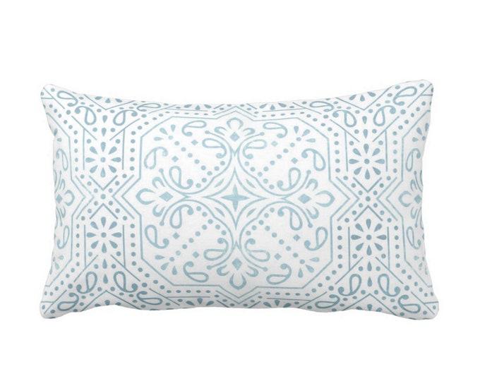 "OUTDOOR Tile Print Throw Pillow or Cover, Sky Blue 14 x 20"" Lumbar Pillows/Covers, Aqua/White Trellis/Geometric/Batik/Geo Pattern"