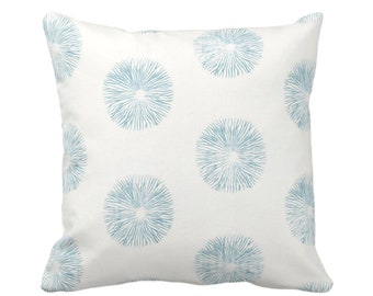 "OUTDOOR Sea Urchin Throw Pillow or Cover, Off-White/Teal 16, 18, 20"" Sq Pillows or Covers, Blue/Green Modern/Starburst/Geometric/Geo Print"