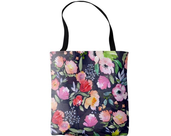 Watercolor Floral Market Tote, Navy Vintage Flower Print Bag, Pink, Blue, Peach, Coral