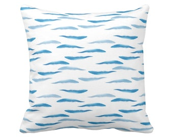 """Abstract Waves Throw Pillow or Cover 16, 18, 20 or 26"""" Sq Pillows or Covers, Ocean Blue/White Modern/Nautical/Fish Pattern, Turquoise"""