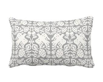 """Block Print Bird Floral Throw Pillow or Cover, Gray 14 x 20"""" Lumbar Pillows or Covers, Blockprint/Animals/Batik/Boho/Tribal Print"""