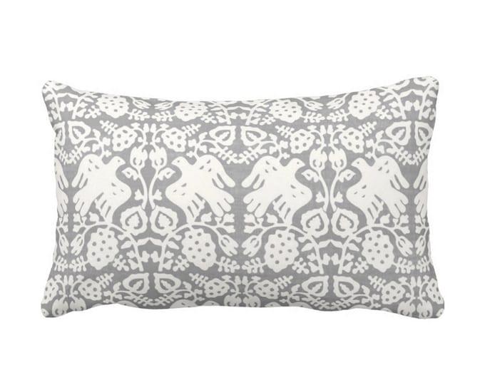 """OUTDOOR Block Print Bird Floral Throw Pillow or Cover, Gray 14 x 20"""" Lumbar Pillows/Covers, Blockprint/Animals/Batik/Boho/Tribal Print"""