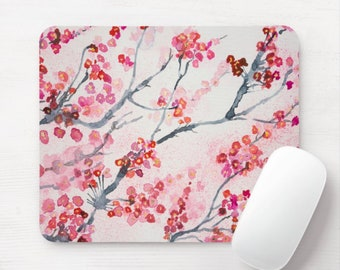 Watercolor Cherry Blossom Floral Print Mouse Pad, Colorful Pink/White/Red Flower Pattern Mousepad, Hand Painted, Branches, Japanese/Japan