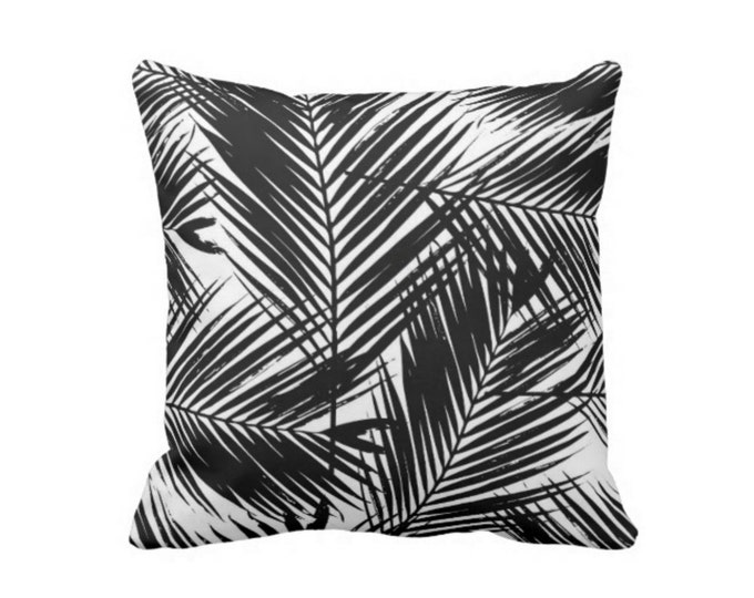 "Palm Print Throw Pillow or Cover, Black & White 16, 18, 20 or 26"" Pillows or Covers, Modern Floral/Nature Pattern"