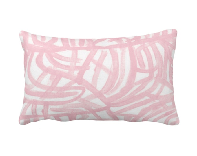 "Avant Print Throw Pillow or Cover, White/Blossom 14 x 20"" Lumbar Pillows/Covers Painted Light Pink Abstract/Geometric/Modern/Lines/Geo Paint"