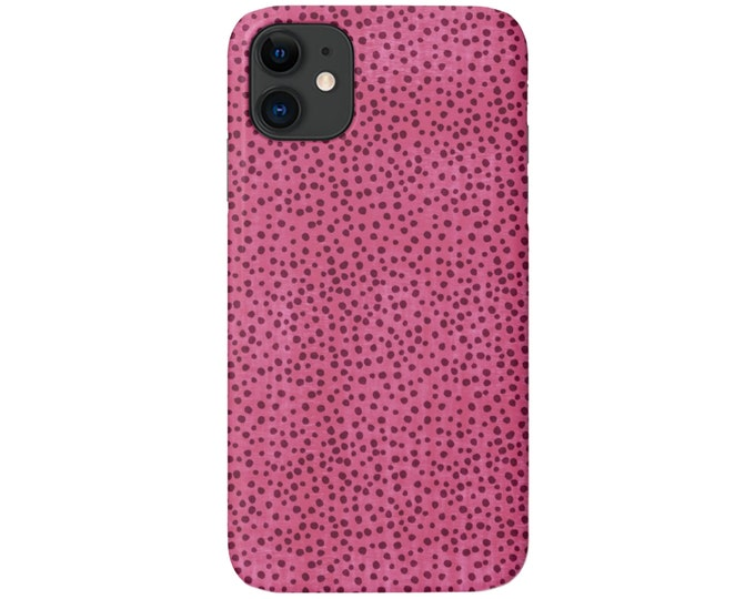 Confetti Print iPhone 11, XS, XR, X, 7/8, 6/6S Pro/Max/P/Plus Snap Case or TOUGH Protective Cover, Pink/Magenta Dots/Dotted/Spots Galaxy lg