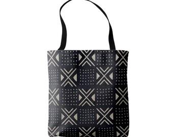 Mud Cloth Geometric X's & Dots Print Market Tote, Black and Tan African Boho Print Bag