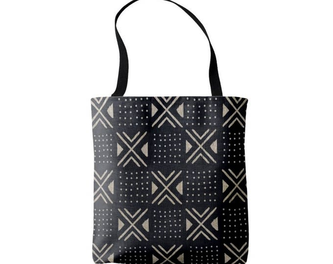 Mud Cloth Geometric X's & Dots Print Market Tote, Black and Tan African Boho Print Bag