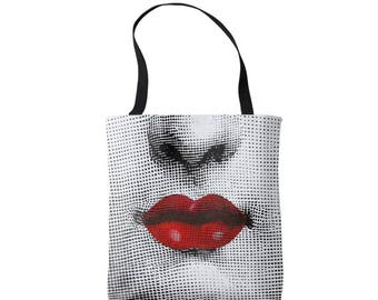 Fornasetti RED Lips Market Tote, Modern Graphic Bag, Bright Black, White & Red Print