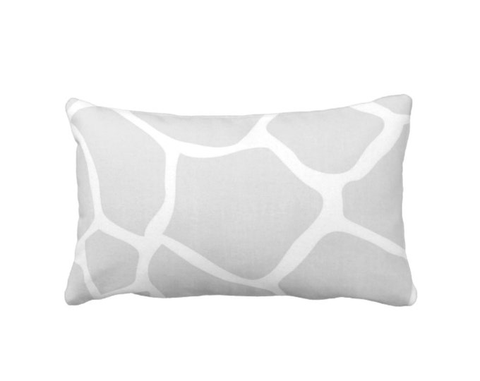 "Giraffe Print Throw Pillow or Cover, Gray/White 14 x 20"" Lumbar Pillows/Covers, Modern Gender Neutral Nursery/Safari/Jungle/Animals Pattern"