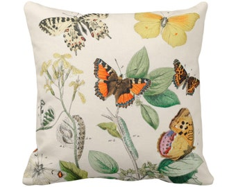 """READY 2 SHIP Vintage Butterflies Throw Pillow Cover, 14"""" Square Covers Colorful Floral Orange.Yellow/Green Butterfly Print/Flowers/Flower"""