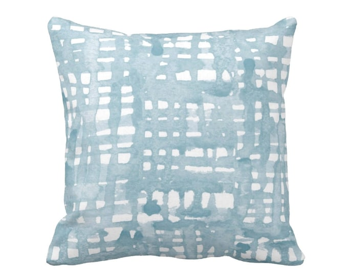 "SALE Watercolor Grid Throw Pillow Cover, Mineral Blue and White Pattern 20"" Square, Abstract Geometric/Plaid Print, Iced/Dusty/Light/Silver"