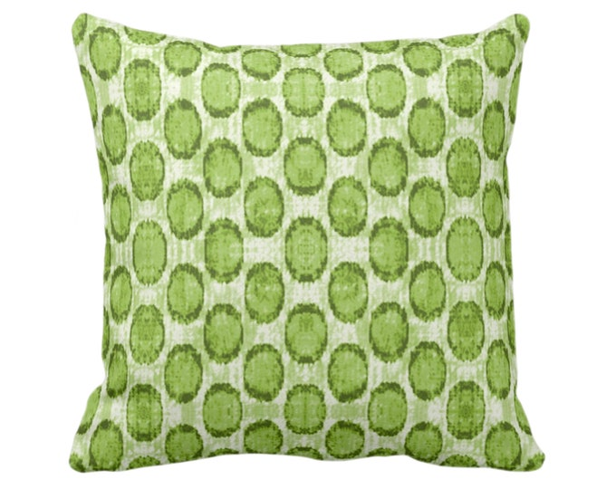 "Ikat Ovals Print Throw Pillow or Cover 14, 16, 18, 20, 26"" Sq Pillows/Covers, Bright Kiwi Green Geometric/Circles/Dots/Dot/Geo/Polka Pattern"