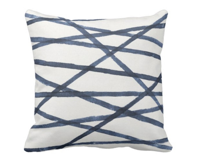 """READY 2 SHIP - Hand-Painted Lines Throw Pillow Cover, Navy/White 20"""" Sq Pillow Covers, Blue Channels/Stripes/Lines/Indigo/Abstract Print"""