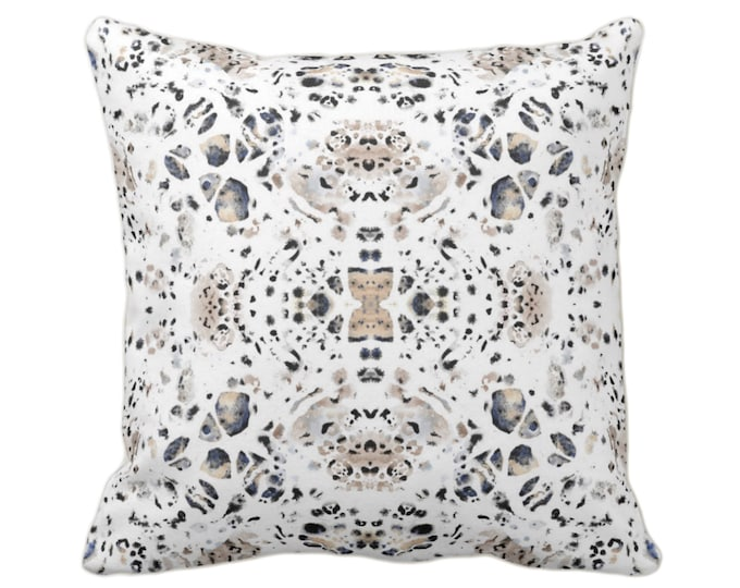 "OUTDOOR Abstract Animal Print Throw Pillow, Black/Beige/Ivory 16, 18, 20 or 26"" Sq Pillows, Cat/Leopard/Spot/Print/Pattern"
