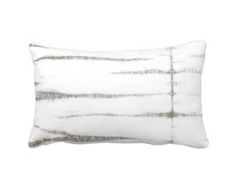 "OUTDOOR Subtle Stripe Throw Pillow or Cover, Gray/White 14 x 20"" Lumbar Pillows/Covers, Taupe Shibori/Lines/Stripes Pattern/Print"