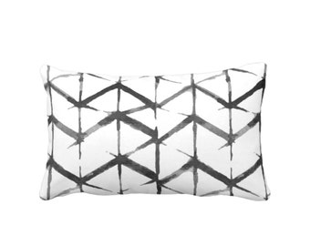 "OUTDOOR Shadow Geo Print Throw Pillow or Cover, Black/White 14 x 20"" Lumbar Pillows or Covers, Chevron/Stripe/Lines/Geometric/Art/Print"