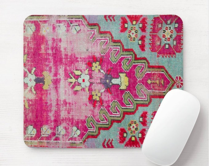 Worn Rug Print Mouse Pad/Mousepad, Printed Vintage Textile Design, Pink/Red/Turquoise Diamond/Geometric/Tribal/Boho/Kilim/Ikat Distressed
