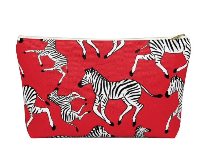Zebras Zippered Pouch, True Red, Black & White Animal Print Design, Cosmetics/Pencil/Make-Up Organizer/Bag, Lipstick/Stripe Pattern Tomato