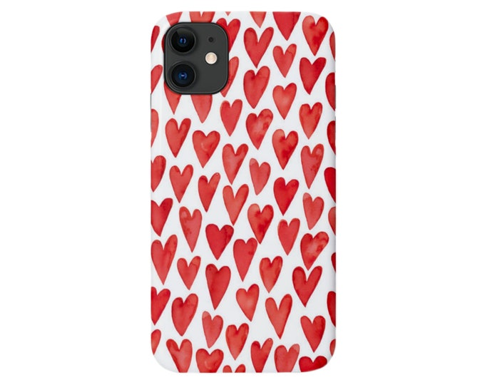 Watercolor HEARTS iPhone 11, XS, XR, X, 7/8, 6/6S Pro/Max/Plus/P Snap Case or Tough Protective Cover Hand Painted Red/White Heart Pattern