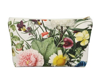 Vintage Botanical Print Zippered Pouch, Floral Pattern, Cosmetics/Pencil/Make-Up Organizer/Bag, Colorful Flowers/Flower Retro Pink/Green