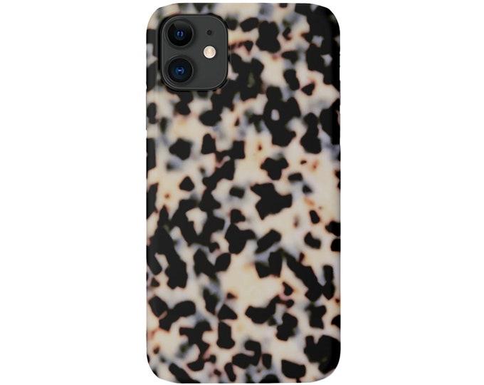 Tortoise Shell Phone 11, XS, XR, X, 7/8, 6/6S P/Plus/Max, Slim or Tough Protective Cover Beige/Black Faux/Printed Tortoiseshell Print