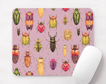 Beetles Watercolor Mouse Pad, Purple/Pink/Green/Yellow Insects/Bug Print Mousepad, Bugs/Beetle/Flying/Insect/Vintage, Plum/Fuchsia Pattern