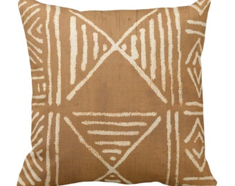 "OUTDOOR Mud Cloth Printed Throw Pillow or Cover, Brown/Beige 14, 16, 18, 20, 26"" Sq Pillows/Covers, Mudcloth/Boho/Geometric/African Print"