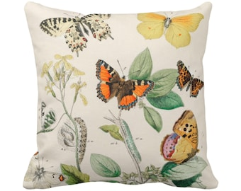 "OUTDOOR Vintage Butterflies Throw Pillow or Cover 14, 16, 18, 20, 26"" Sq Pillows/Covers, Colorful Yellow/orange/Green Butterfly Floral Print"